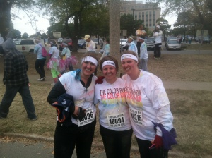 Jessica, myself and another friend at the Color Run in October in Des Moines.