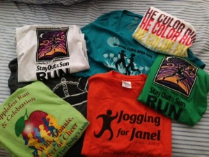 Some of the shirts from my races