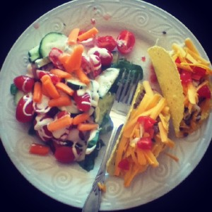 My version of taco salad. Two tacos and a salad. ;)