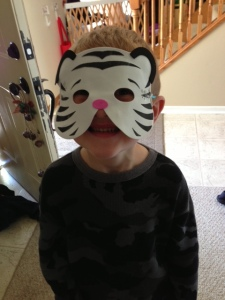 My 5 year old...he wore this pretty much all day yesterday.  :)  Yep, welcome to my life.