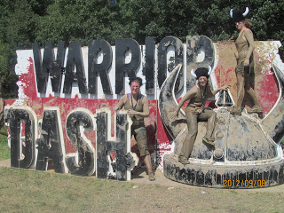"Jessica at the Warrior Dash in 2012.  (Jessica is the one standing by the letter ""h"")"