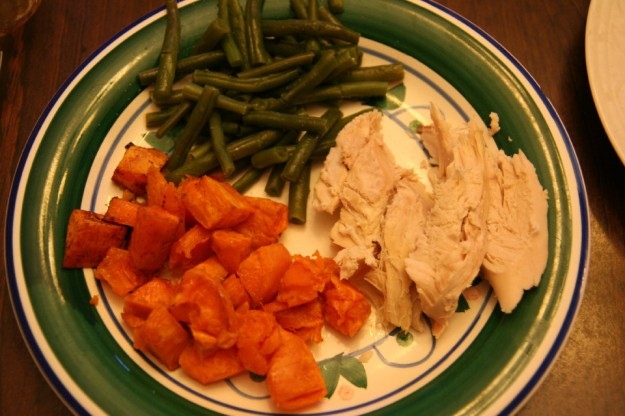 Turkey sweet potatoes green beans