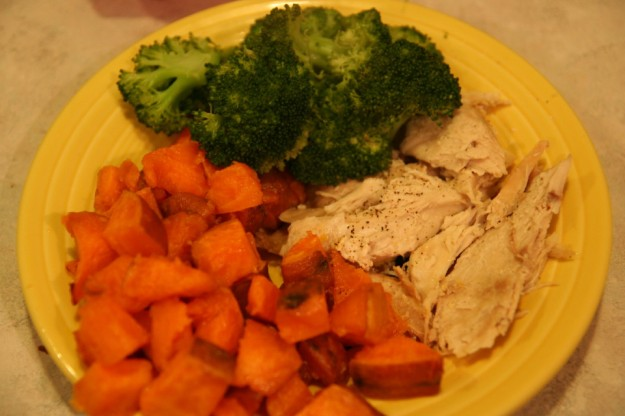 Turkey sweet potatoes broccoli
