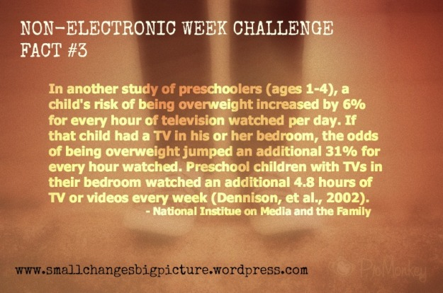 We are taking a stand at getting our kids moving more!  Join us for our Non-Electronic Week Challenge.  Figure out a way to make this work for your house and challenge yourself!  Start with day 1...and work for 7 days to make healthier habits with our electronic usage.  Check out more info at our FREE page...and look in the Challenges tab for more info.