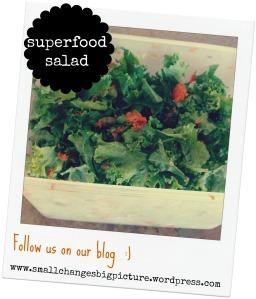 Super food salad recipe.  Find the details at www.smallchangesbigpicture.wordpress.com