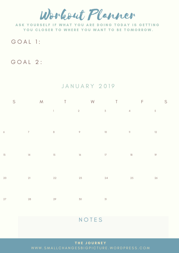January Workout Calendar 2019 FREE Workout Calendar – January 2019 | The Journey